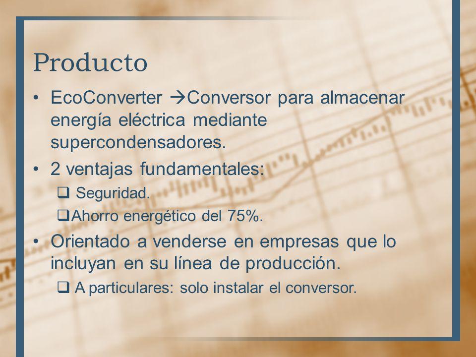 Producto EcoConverter Conversor para almacenar energía eléctrica mediante supercondensadores. 2 ventajas fundamentales: Seguridad. Ahorro energético d