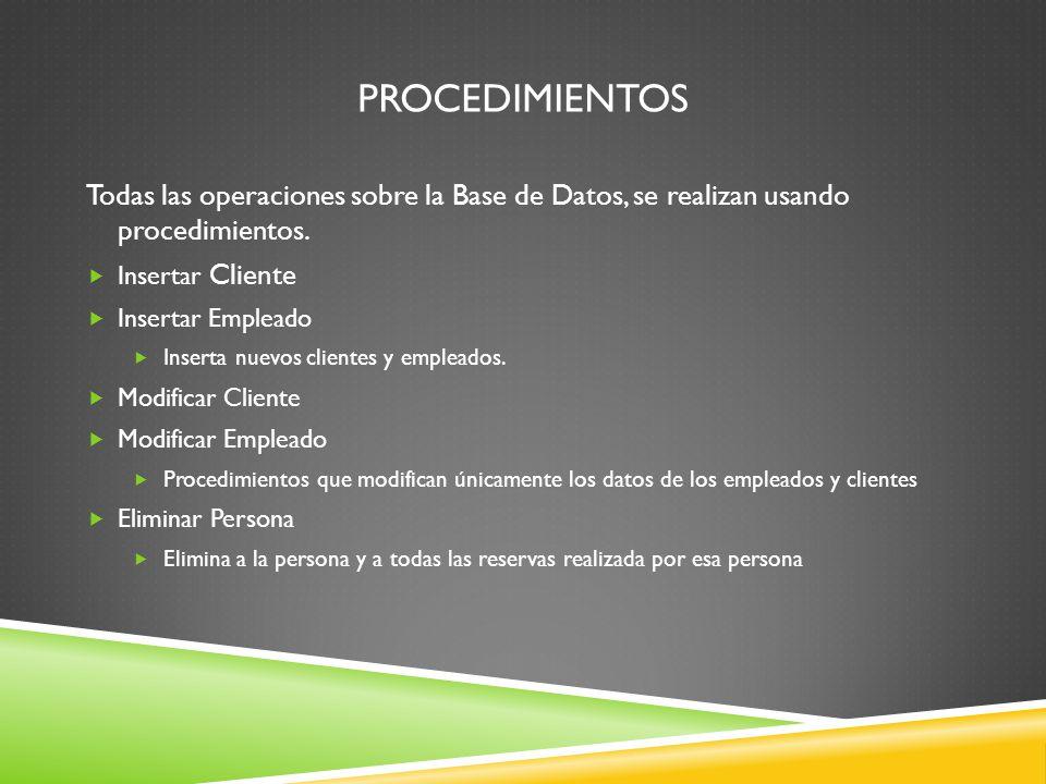 PROCEDIMIENTOS Todas las operaciones sobre la Base de Datos, se realizan usando procedimientos.