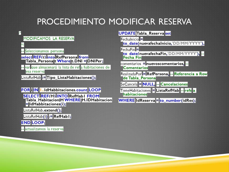 PROCEDIMIENTO MODIFICAR RESERVA /* MODIFICAMOS LA RESERVA */ -- Seleccionamos persona select REF(t) into RefPersona from Tabla_Persona t Where t.DNI = DNIPer; -- var que almacenará la lista de ref a habitaciones de esa reserva ListaRefHab := Tipo_ListaHabitaciones(); FOR i IN 1..IdHabbitaciones.count LOOP SELECT REF(H) INTO RefHab1 FROM Tabla_Habitacion H WHERE H.IDHabitacion = IdHabbitaciones(i); ListaRefHab.extend(); ListaRefHab(i) := RefHab1; END LOOP; -- actualizamos la reserva UPDATE Tabla_Reserva set FechaInicio = to_date(nuevafechaInicio, DD/MM/YYYY ), FechaFin = to_date(nuevafechaFin, DD/MM/YYYY ), -- Fecha Fin comentarios = nuevoscomentarios, -- Comentarios RealizadaPor = RefPersona, -- Referencia a Row de Tabla_Persona SeCancela = NULL, -- Cancelaciones TieneHabitaciones = ListaRefHab -- refs a habitaciones WHERE IdReserva = to_number(idRes);