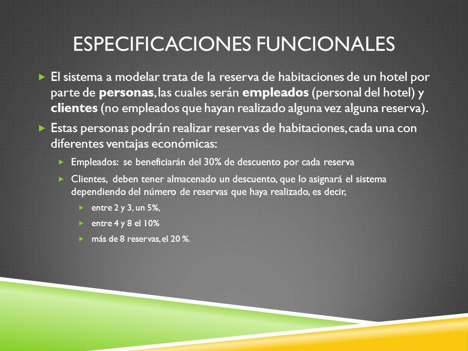 ESPECIFICACIONES FUNCIONALES El sistema a modelar trata de la reserva de habitaciones de un hotel por parte de personas, las cuales serán empleados (personal del hotel) y clientes (no empleados que hayan realizado alguna vez alguna reserva).
