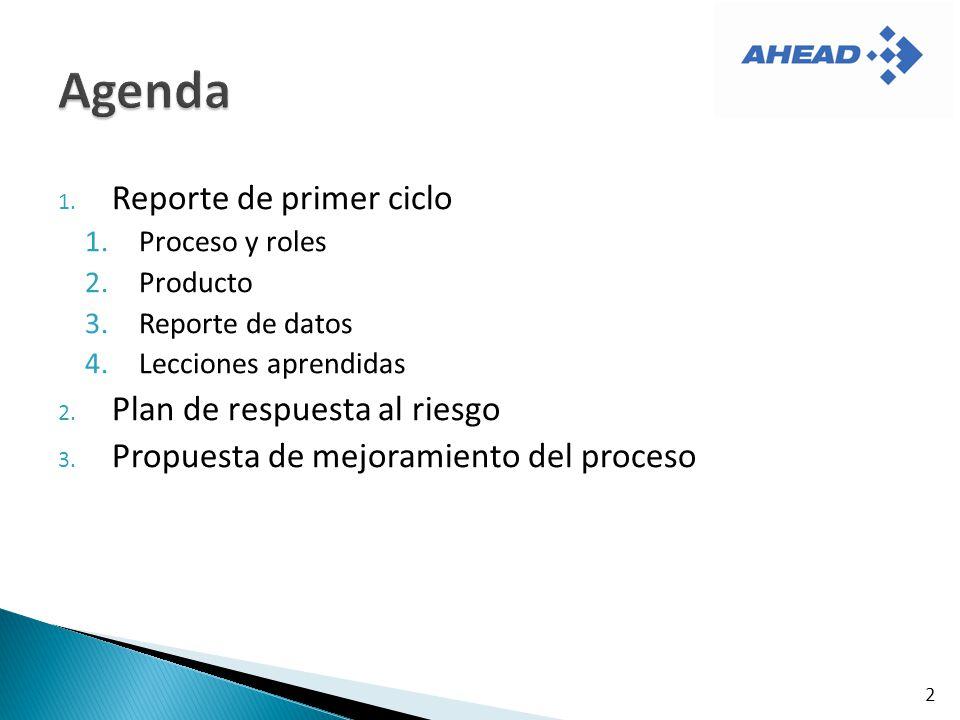 1. Reporte de primer ciclo 1.Proceso y roles 2.Producto 3.Reporte de datos 4.Lecciones aprendidas 2. Plan de respuesta al riesgo 3. Propuesta de mejor