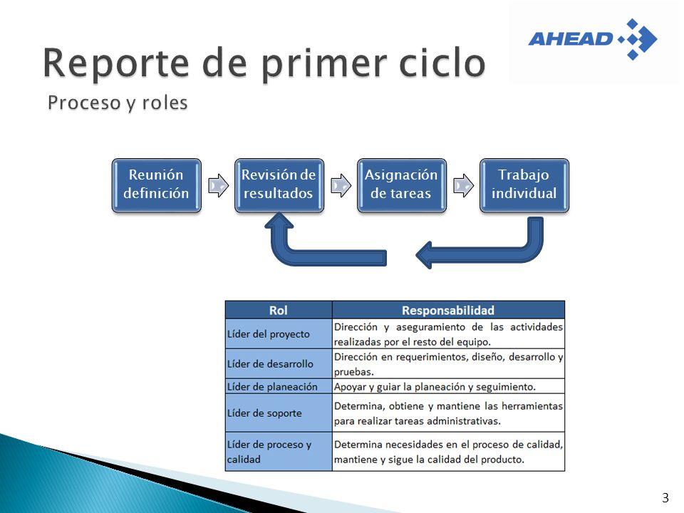 3 Reunión definición Revisión de resultados Asignación de tareas Trabajo individual