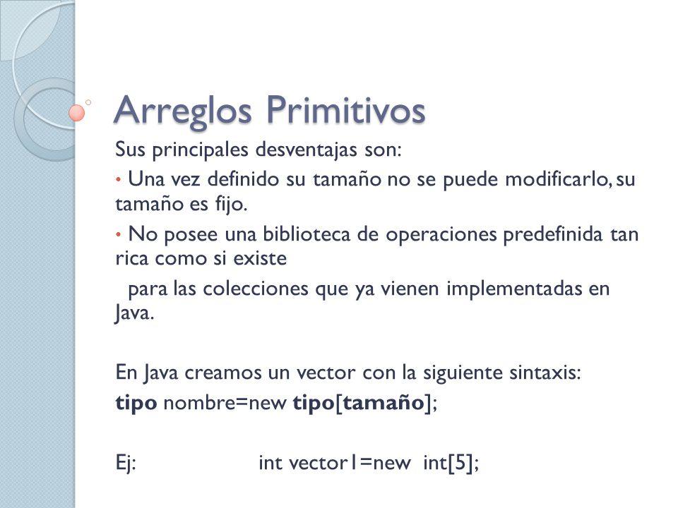 Arreglos Primitivos Sus principales desventajas son: Una vez definido su tamaño no se puede modificarlo, su tamaño es fijo. No posee una biblioteca de