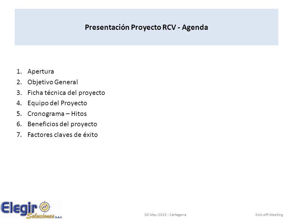 Presentación Proyecto RCV - Agenda 1.Apertura 2.Objetivo General 3.Ficha técnica del proyecto 4.Equipo del Proyecto 5.Cronograma – Hitos 6.Beneficios