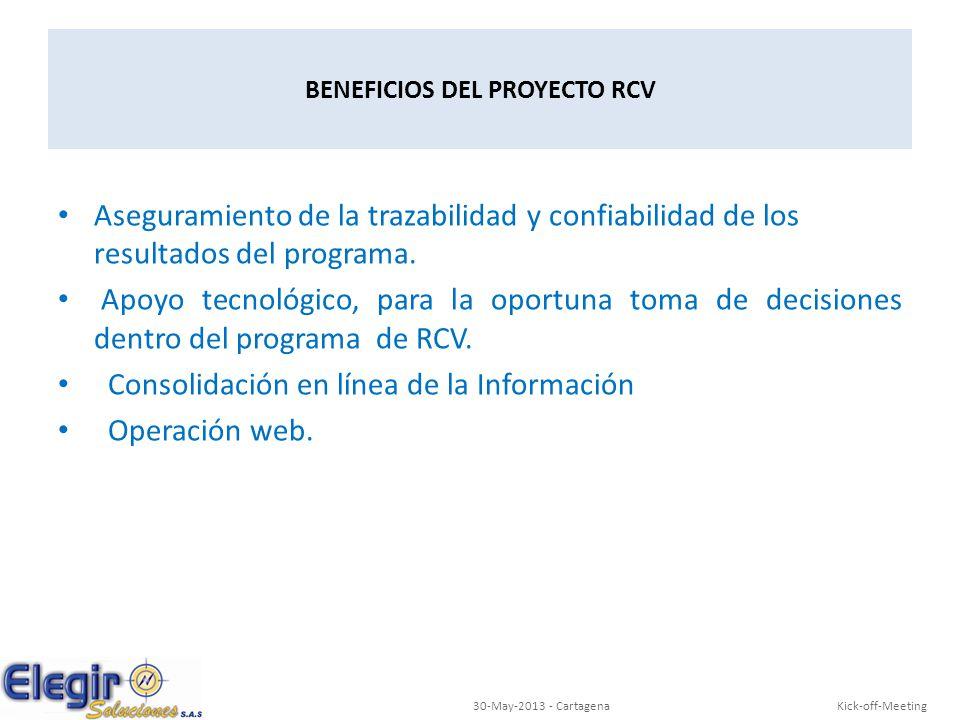 Kick-off-Meeting30-May-2013 - Cartagena BENEFICIOS DEL PROYECTO RCV Aseguramiento de la trazabilidad y confiabilidad de los resultados del programa. A