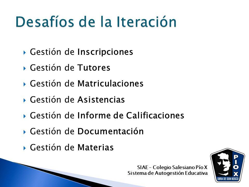 Gestión de Inscripciones Gestión de Tutores Gestión de Matriculaciones Gestión de Asistencias Gestión de Informe de Calificaciones Gestión de Document