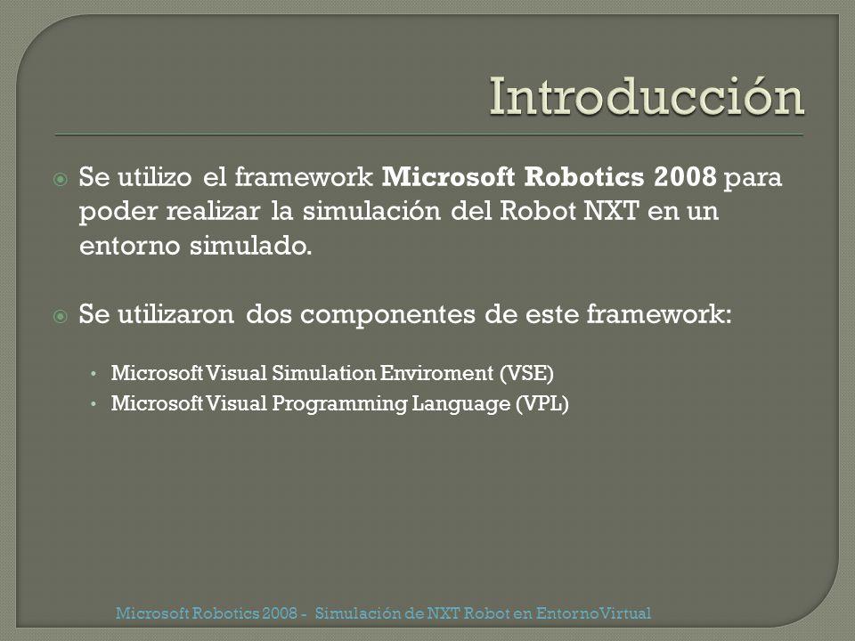 Se utilizo el framework Microsoft Robotics 2008 para poder realizar la simulación del Robot NXT en un entorno simulado. Se utilizaron dos componentes