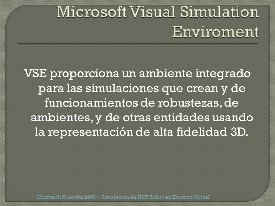 VSE proporciona un ambiente integrado para las simulaciones que crean y de funcionamientos de robustezas, de ambientes, y de otras entidades usando la