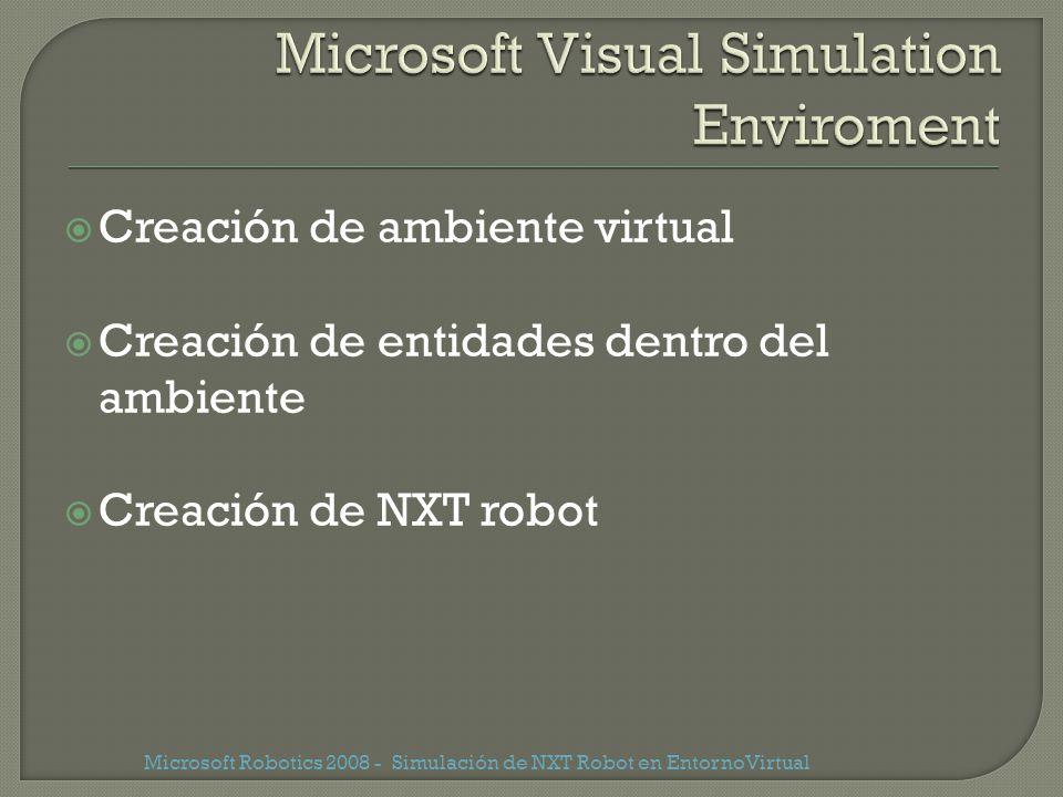 Creación de ambiente virtual Creación de entidades dentro del ambiente Creación de NXT robot Microsoft Robotics 2008 - Simulación de NXT Robot en Ento