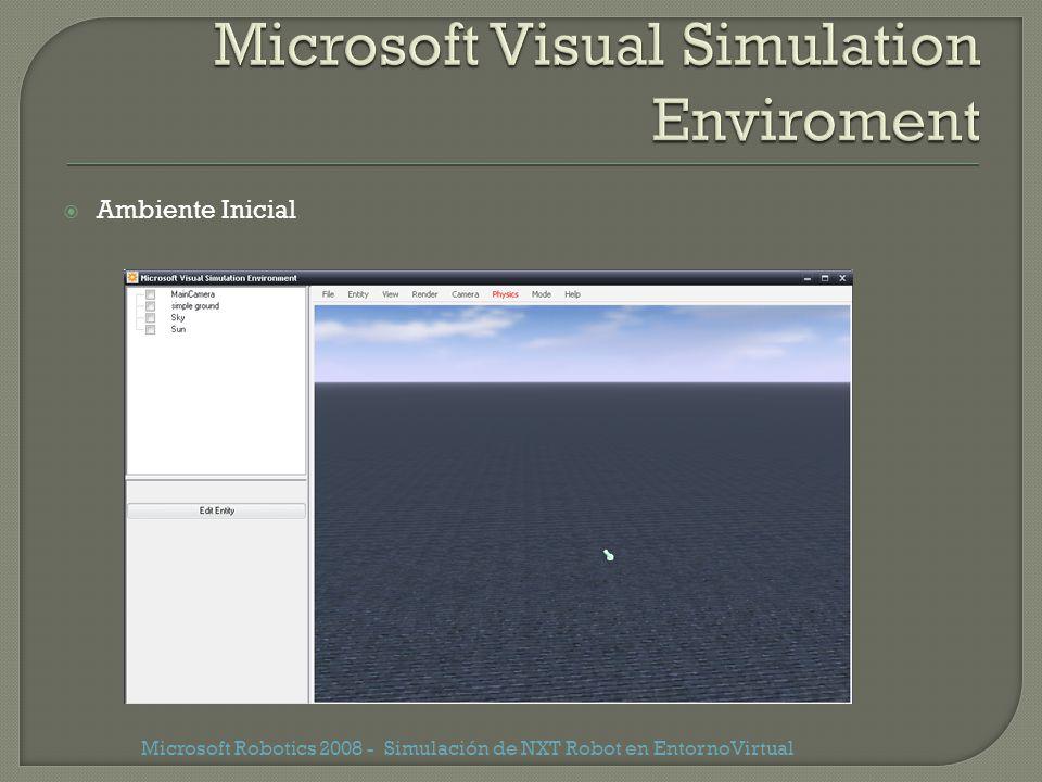 Ambiente Inicial Microsoft Robotics 2008 - Simulación de NXT Robot en EntornoVirtual