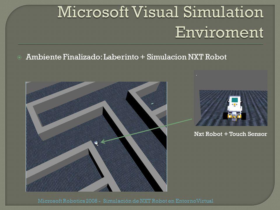 Ambiente Finalizado: Laberinto + Simulacion NXT Robot Microsoft Robotics 2008 - Simulación de NXT Robot en EntornoVirtual Nxt Robot + Touch Sensor