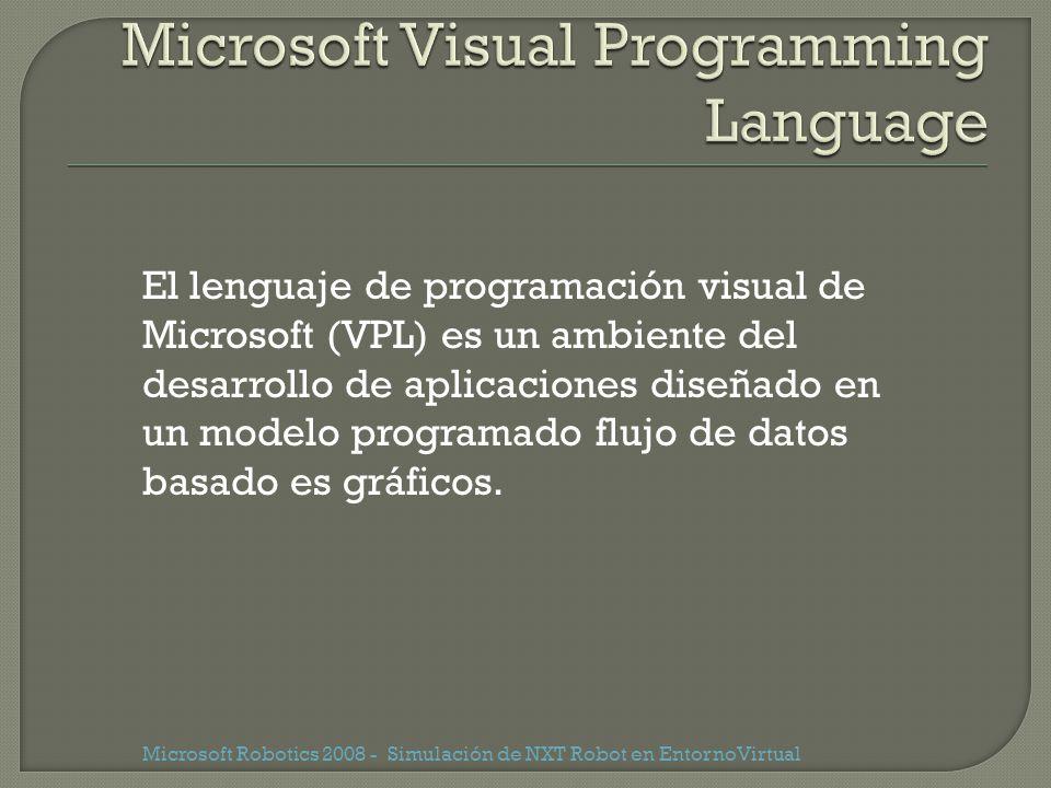 Microsoft Robotics 2008 - Simulación de NXT Robot en EntornoVirtual El lenguaje de programación visual de Microsoft (VPL) es un ambiente del desarroll
