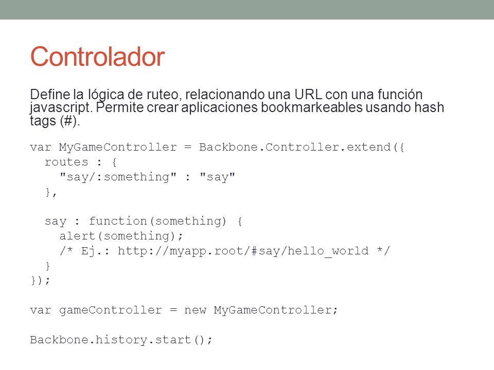 Controlador Define la lógica de ruteo, relacionando una URL con una función javascript. Permite crear aplicaciones bookmarkeables usando hash tags (#)