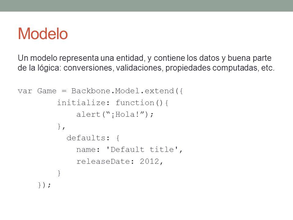 Modelo Un modelo representa una entidad, y contiene los datos y buena parte de la lógica: conversiones, validaciones, propiedades computadas, etc. var