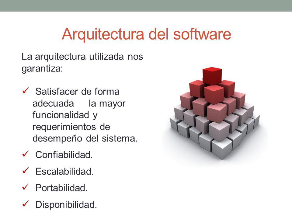Arquitectura del software La arquitectura utilizada nos garantiza: Satisfacer de forma adecuada la mayor funcionalidad y requerimientos de desempeño del sistema.