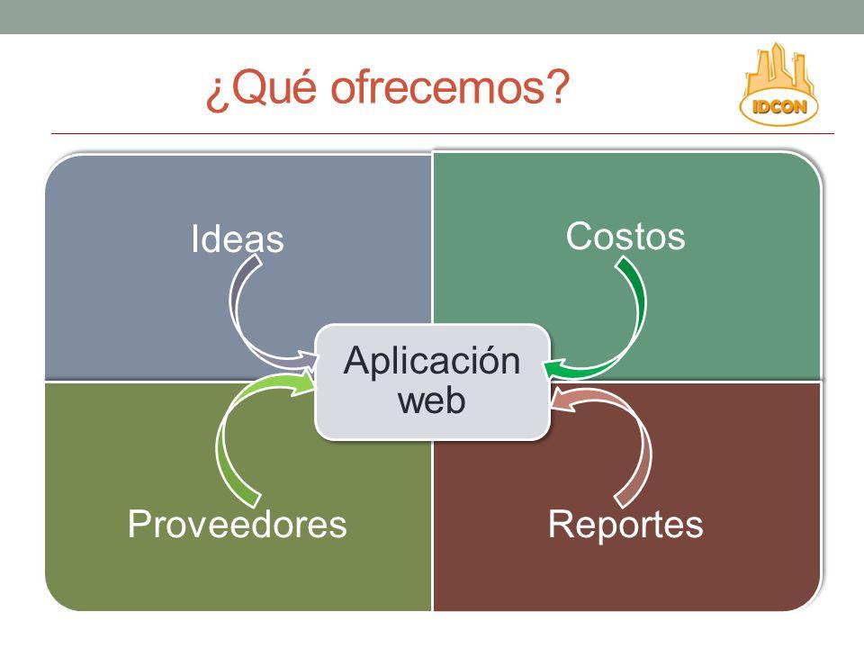 ¿Qué ofrecemos? Ideas Costos ProveedoresReportes Aplicación web