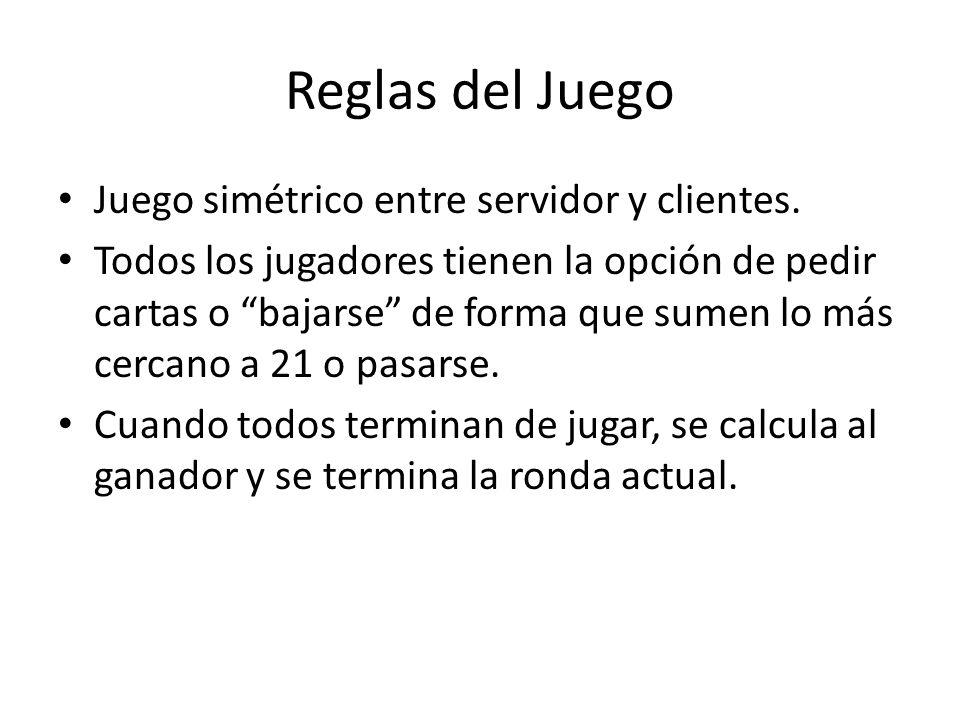 Reglas del Juego Juego simétrico entre servidor y clientes.