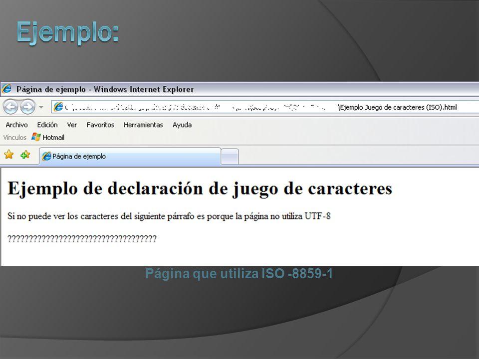 Página que utiliza ISO -8859-1