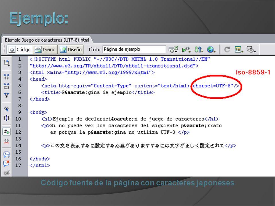 Código fuente de la página con caracteres japoneses