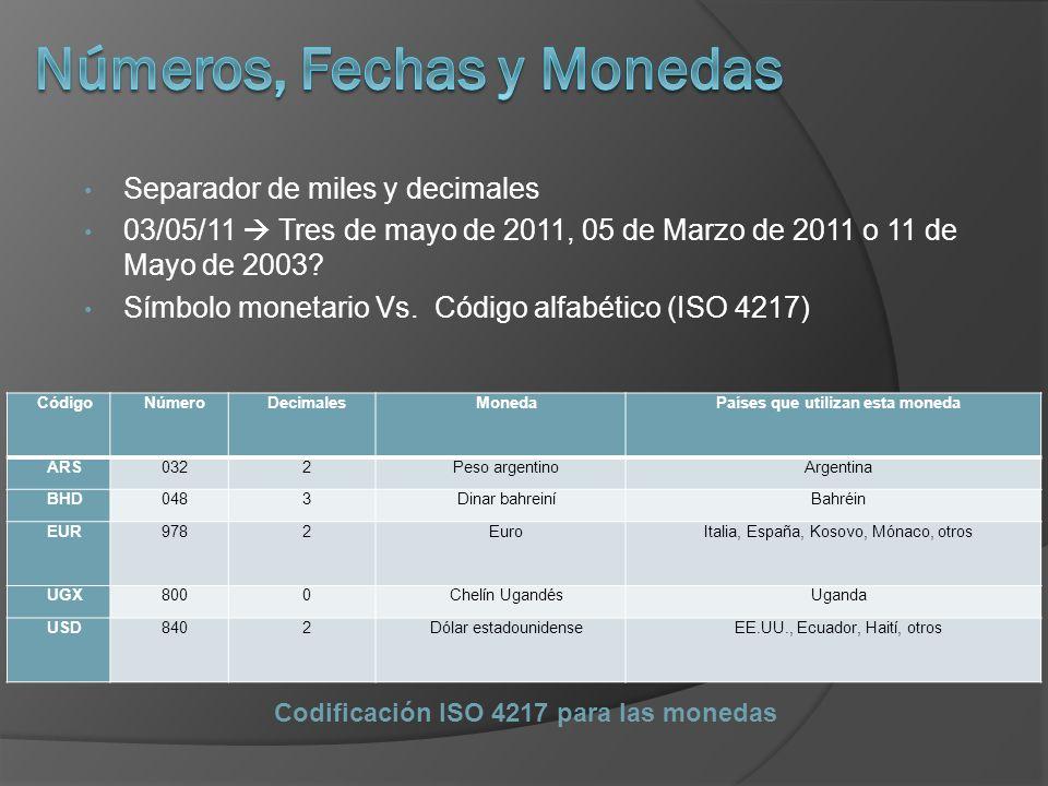 Separador de miles y decimales 03/05/11 Tres de mayo de 2011, 05 de Marzo de 2011 o 11 de Mayo de 2003? Símbolo monetario Vs. Código alfabético (ISO 4