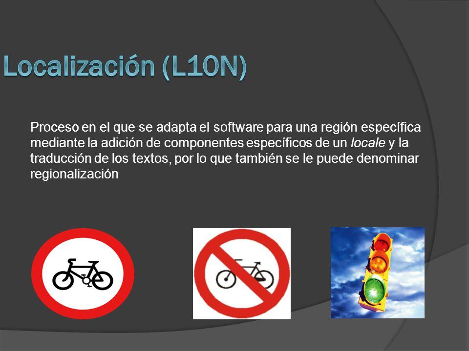 Proceso en el que se adapta el software para una región específica mediante la adición de componentes específicos de un locale y la traducción de los