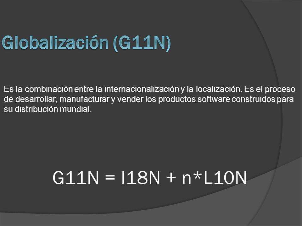 G11N = I18N + n*L10N Es la combinación entre la internacionalización y la localización. Es el proceso de desarrollar, manufacturar y vender los produc