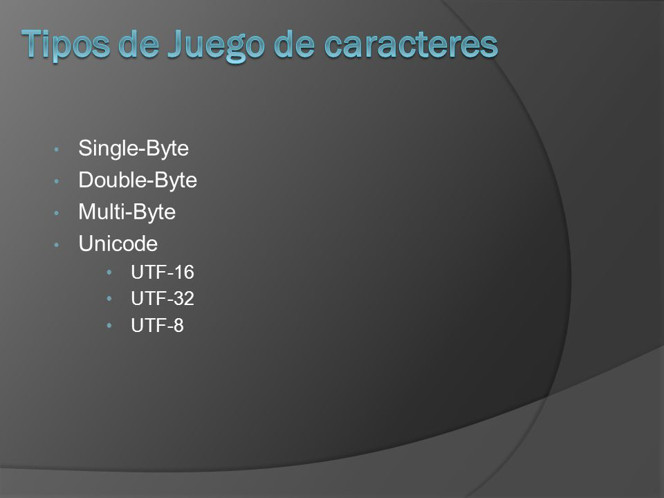Single-Byte Double-Byte Multi-Byte Unicode UTF-16 UTF-32 UTF-8