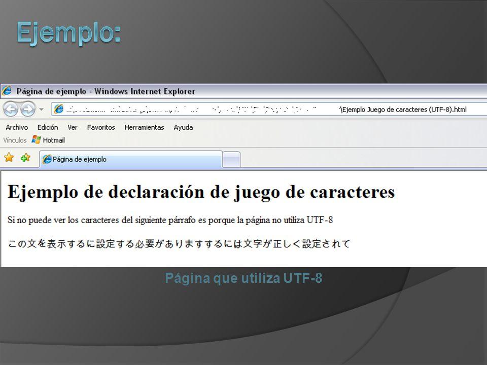Página que utiliza UTF-8