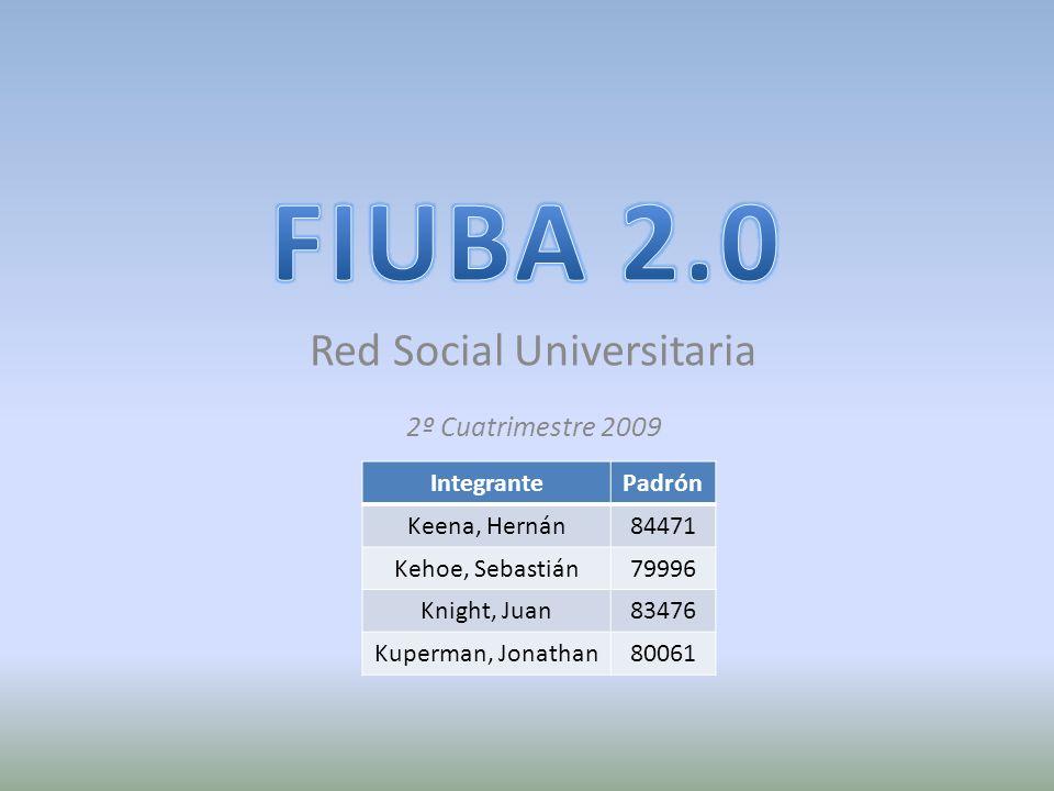 Red Social Universitaria IntegrantePadrón Keena, Hernán84471 Kehoe, Sebastián79996 Knight, Juan83476 Kuperman, Jonathan80061 2º Cuatrimestre 2009