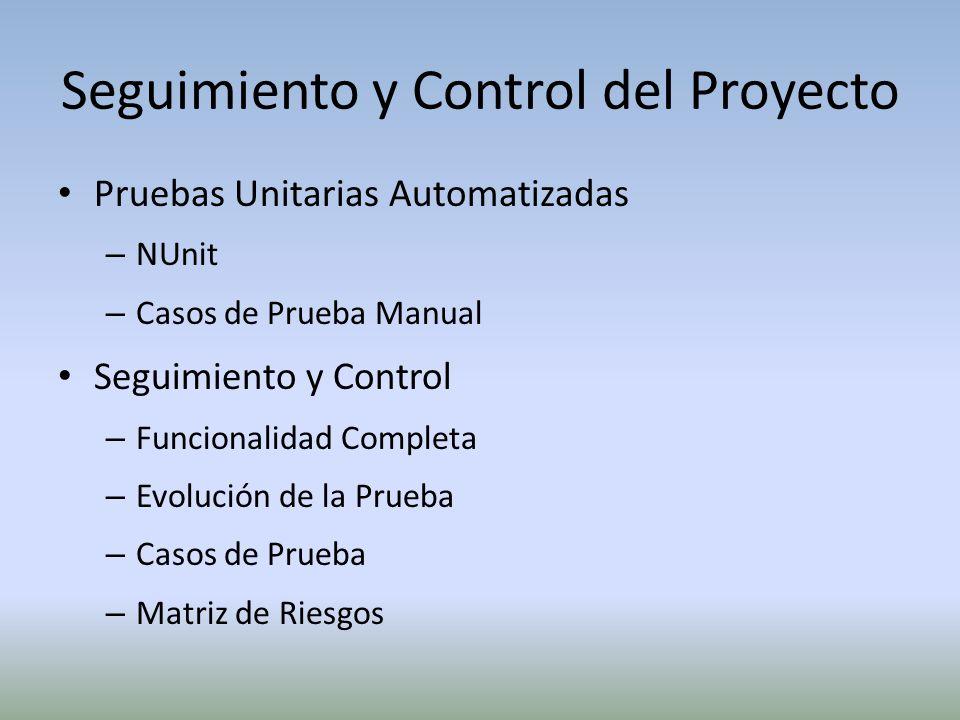 Seguimiento y Control del Proyecto Pruebas Unitarias Automatizadas – NUnit – Casos de Prueba Manual Seguimiento y Control – Funcionalidad Completa – E