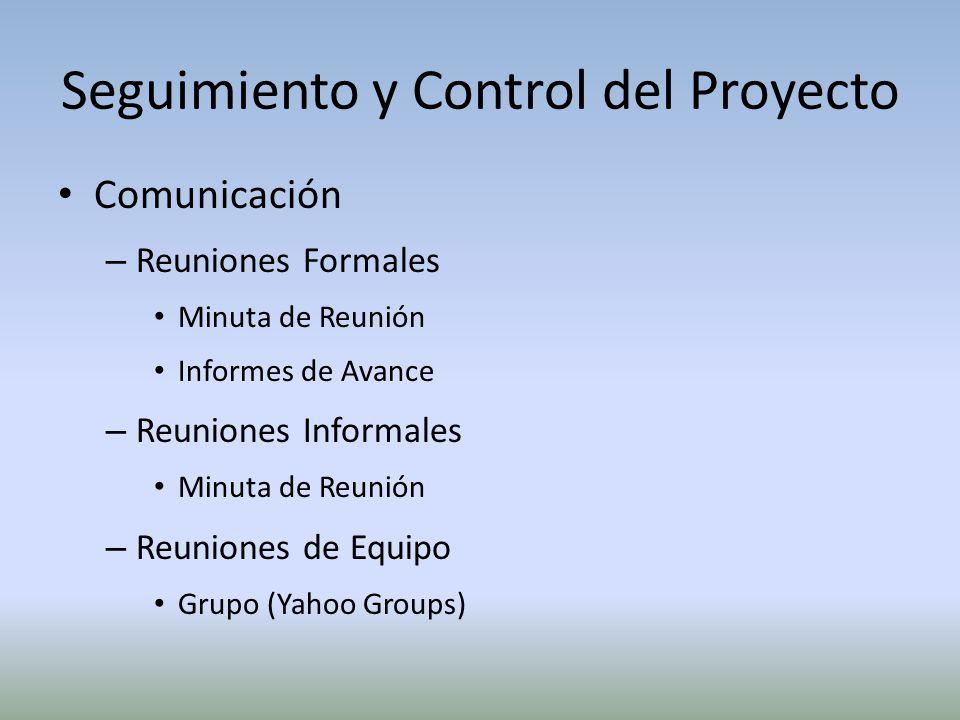 Seguimiento y Control del Proyecto Comunicación – Reuniones Formales Minuta de Reunión Informes de Avance – Reuniones Informales Minuta de Reunión – R
