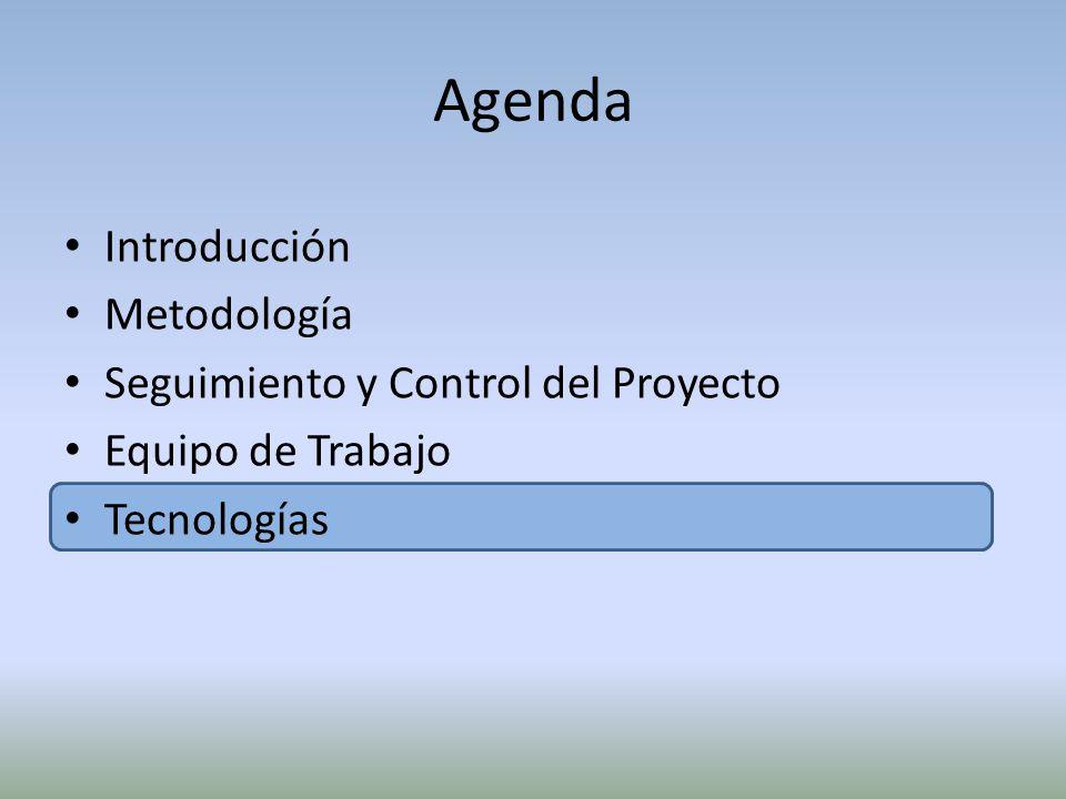 Agenda Introducción Metodología Seguimiento y Control del Proyecto Equipo de Trabajo Tecnologías