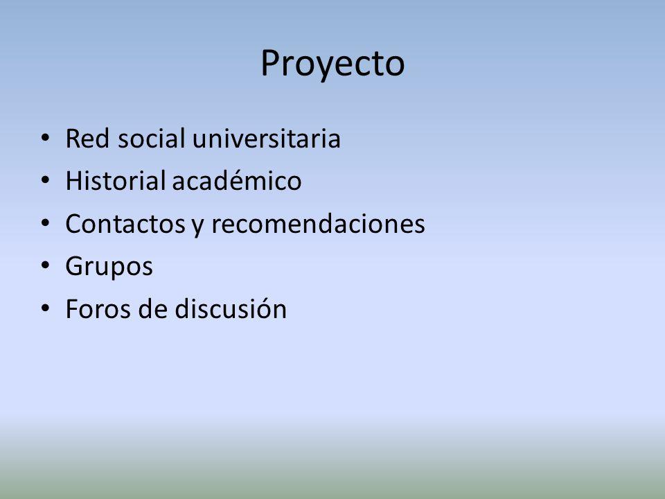 Proyecto Red social universitaria Historial académico Contactos y recomendaciones Grupos Foros de discusión