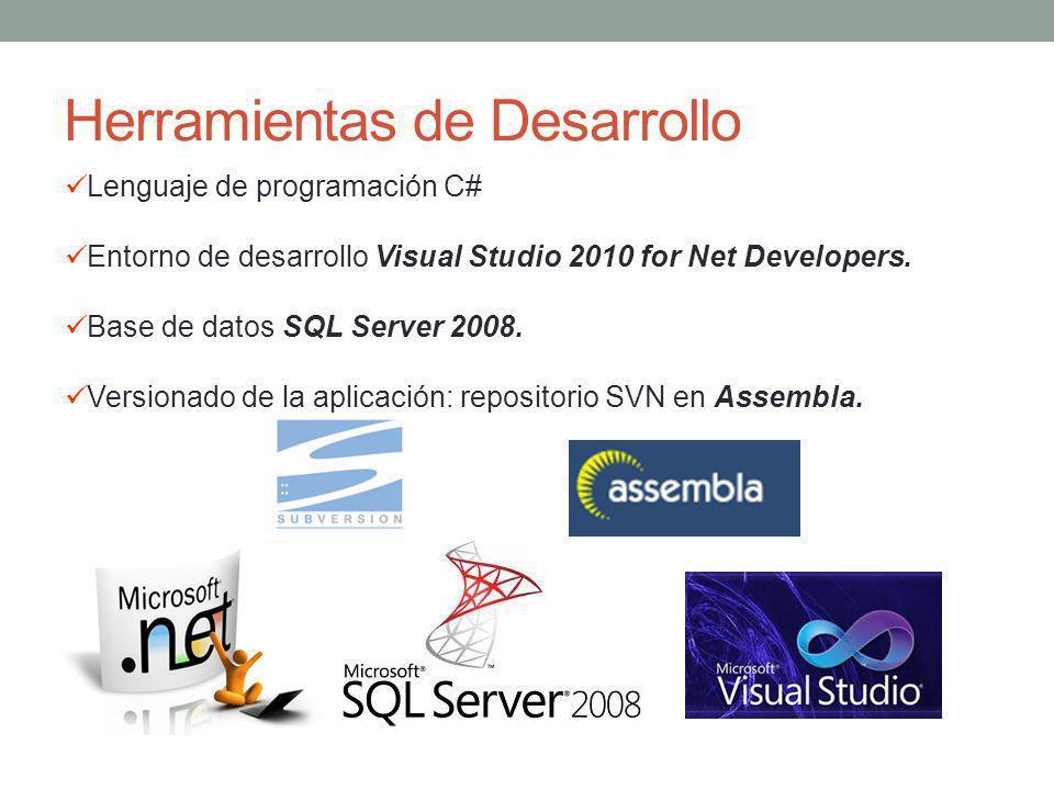 Herramientas de Desarrollo Lenguaje de programación C# Entorno de desarrollo Visual Studio 2010 for Net Developers. Base de datos SQL Server 2008. Ver