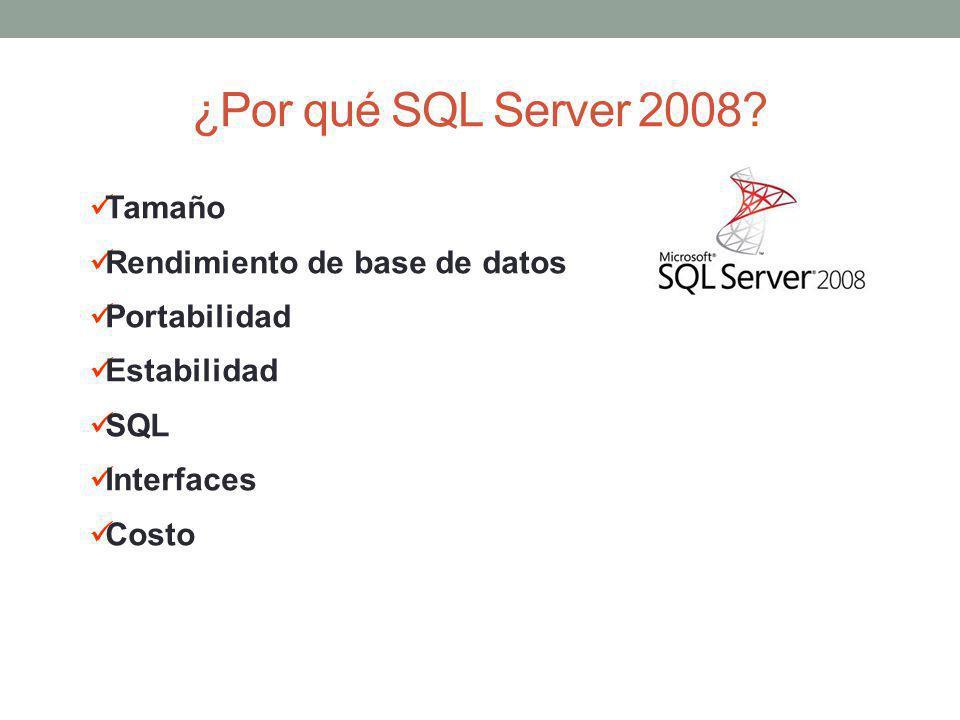 ¿Por qué SQL Server 2008? Tamaño Rendimiento de base de datos Portabilidad Estabilidad SQL Interfaces Costo