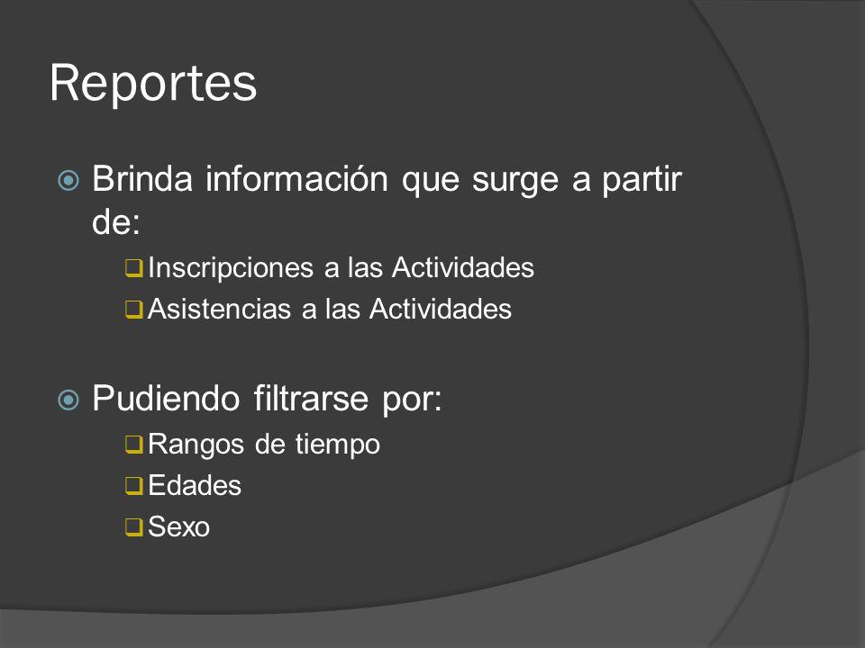 Reportes Brinda información que surge a partir de: Inscripciones a las Actividades Asistencias a las Actividades Pudiendo filtrarse por: Rangos de tie