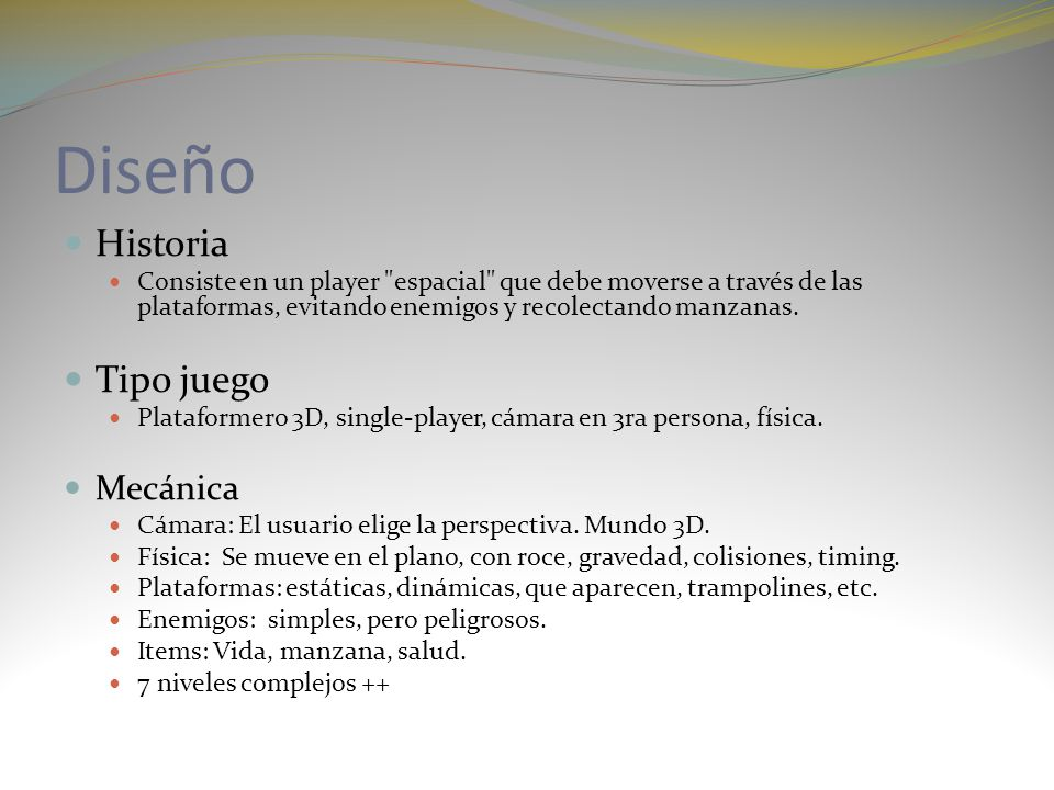 Desarrollo Plataforma: PC, XBOX Lenguaje: C# Engine: XNA 3.0 Equipo: Nicolás Danoun: programador Juan Pablo Honorato: artista Software: XNA sobre Microsoft Visual Express 2008 JigLibX: motor físico, muy importante.