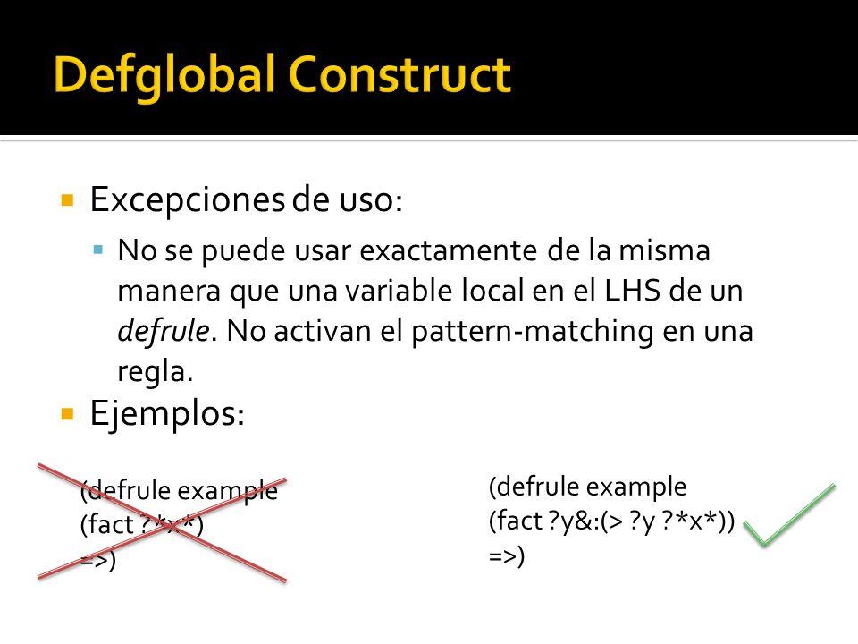 Excepciones de uso: No se puede usar exactamente de la misma manera que una variable local en el LHS de un defrule.