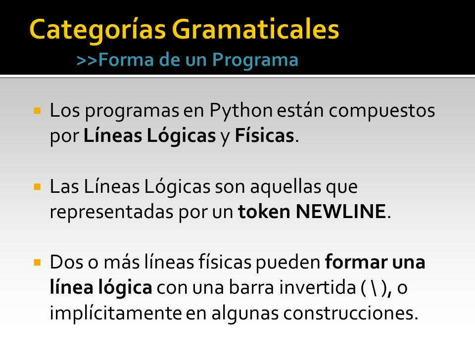 Los programas en Python están compuestos por Líneas Lógicas y Físicas. Las Líneas Lógicas son aquellas que representadas por un token NEWLINE. Dos o m
