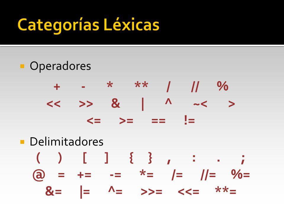 Operadores Delimitadores + - * ** / // % > & | ^ ~ = == != ( ) [ ] { }, :. ; @ = += -= *= /= //= %= &= |= ^= >>= <<= **=