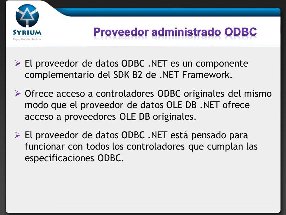 El proveedor de datos ODBC.NET es un componente complementario del SDK B2 de.NET Framework.
