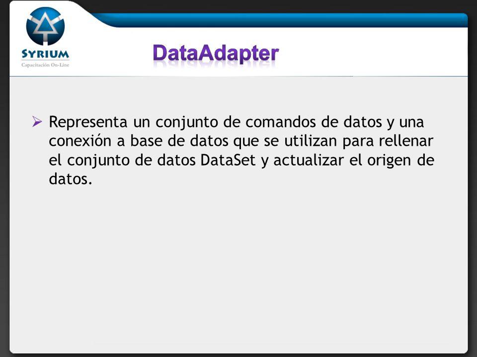 Representa un conjunto de comandos de datos y una conexión a base de datos que se utilizan para rellenar el conjunto de datos DataSet y actualizar el origen de datos.