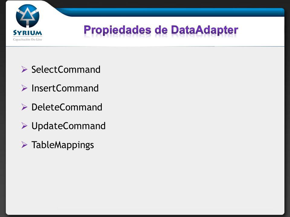 SelectCommand InsertCommand DeleteCommand UpdateCommand TableMappings