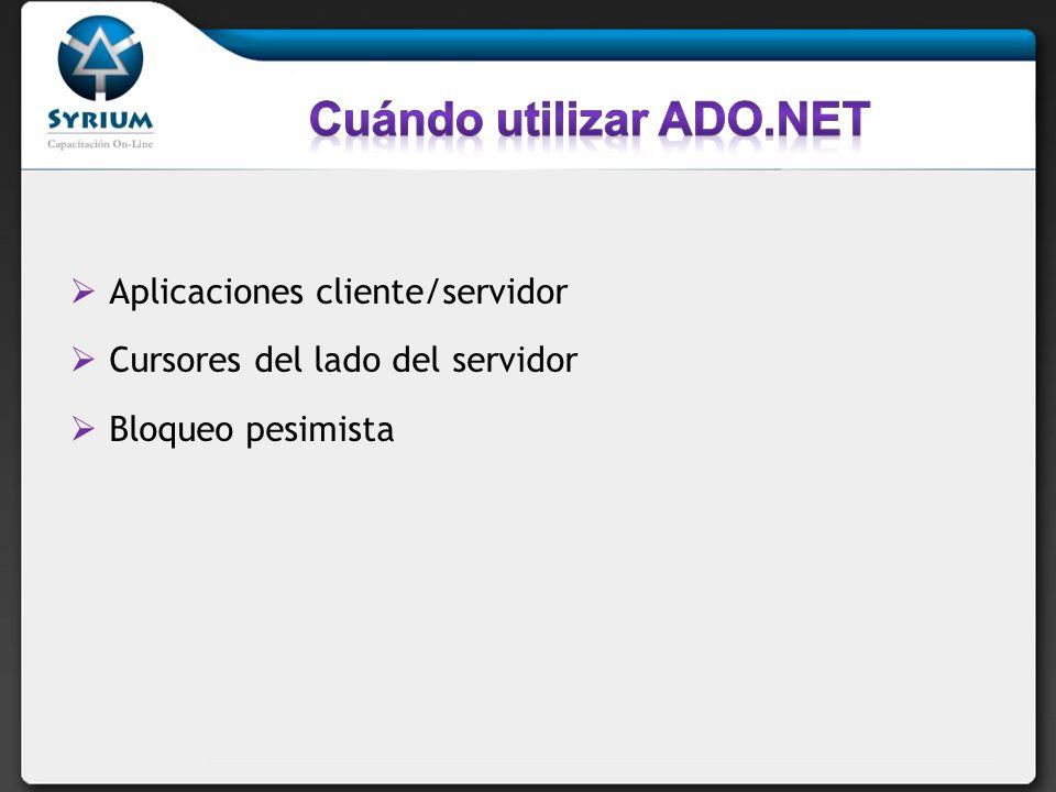 Aplicaciones cliente/servidor Cursores del lado del servidor Bloqueo pesimista