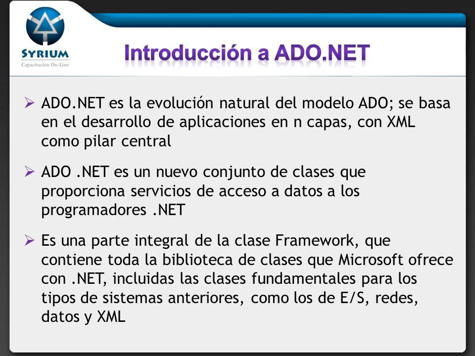 ADO.NET es la evolución natural del modelo ADO; se basa en el desarrollo de aplicaciones en n capas, con XML como pilar central ADO.NET es un nuevo conjunto de clases que proporciona servicios de acceso a datos a los programadores.NET Es una parte integral de la clase Framework, que contiene toda la biblioteca de clases que Microsoft ofrece con.NET, incluidas las clases fundamentales para los tipos de sistemas anteriores, como los de E/S, redes, datos y XML