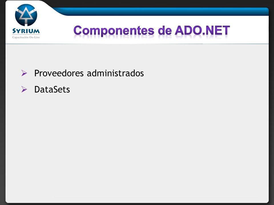 El proveedor de datos.NET es un conjunto de componentes que incluye los objetos Connection, Command, DataReader y DataAdapter El proveedor de datos.NET está diseñado para ser muy sencillo y crear una capa mínima entre el origen de datos y el código, lo que aumenta el rendimiento sin detrimento de la funcionalidad