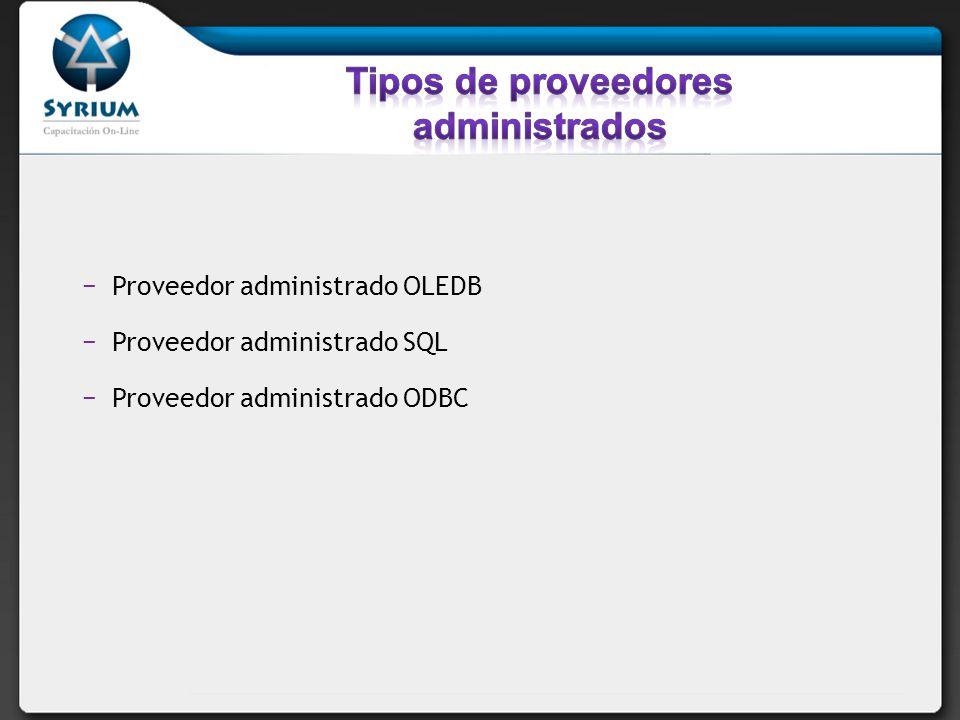 Proveedor administrado OLEDB Proveedor administrado SQL Proveedor administrado ODBC