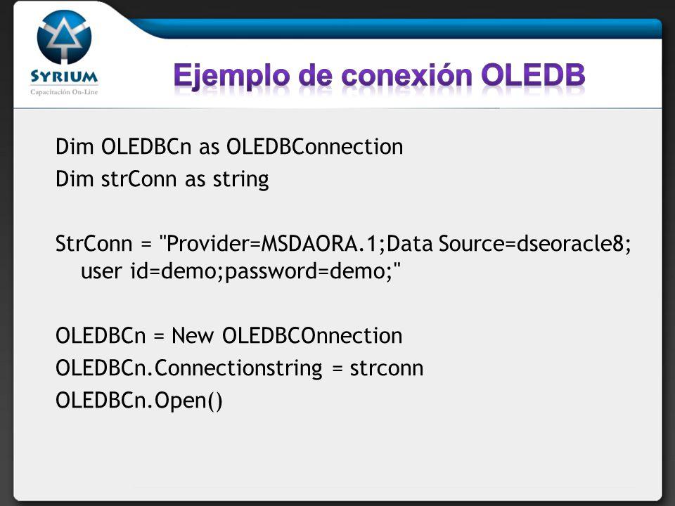 Utiliza su propio protocolo para comunicarse con la base de datos de Microsoft SQL Server Estas clases se encuentran en el espacio de nombres System.Data.SqlClient.