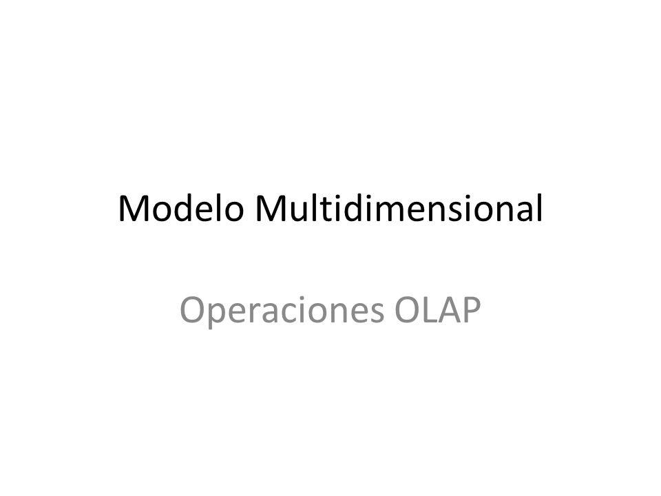 2 El Modelo de Datos Multidimensional Vista multidimensional del data warehouse => influencia el diseño de la base de datos, las herramientas front-end, y los motores OLAP.