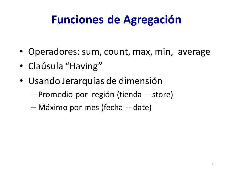 13 Funciones de Agregación Operadores: sum, count, max, min, average Claúsula Having Usando Jerarquías de dimensión – Promedio por región (tienda -- store) – Máximo por mes (fecha -- date)